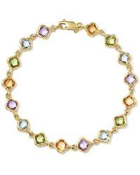 Bloomingdale's - Multi Gemstone Clover Bracelet In 14k Yellow Gold - Lyst