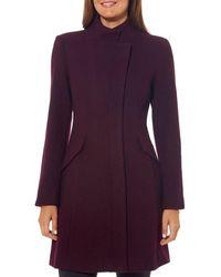 Vince Camuto Asymmetric Stand Collar Coat - Purple