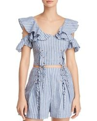 Guess - Hermosa Cold-shoulder Lace-up Cropped Top - Lyst