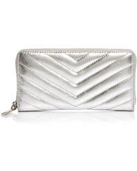 Rebecca Minkoff Edie Quilted Leather Wallet - Metallic