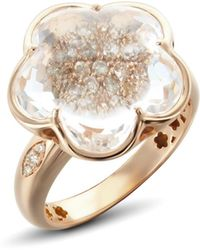 Pasquale Bruni 18k Rose Gold Bon Ton Champagne Diamond & Rock Crystal Floral Ring - Metallic