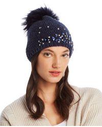 Echo Fur Pom - Pom Embellished Beanie - Blue