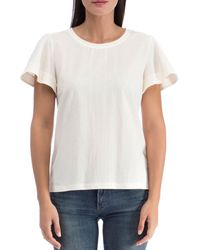 B Collection By Bobeau Ava Embroidered Stripe Top - White