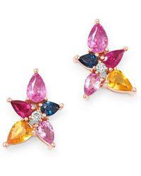 d8c019333 Bloomingdale's - Multicolour Sapphire & Diamond Stud Earrings In 14k Rose  Gold - Lyst