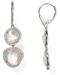 Nadri - Sterling Silver & Mother Of Pearl Double Drop Earrings - Lyst