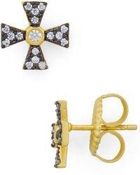 Freida Rothman - Thin Cross Stud Earrings - Lyst