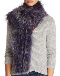 Maximilian Knit Fox Fur Scarf - Blue