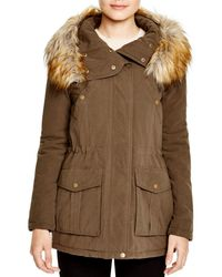 DKNY Faux Fur Trim Hooded Anorak - Green