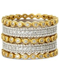 Freida Rothman Classic Stacking Rings In Gold - Plated & Rhodium - Plated Sterling Silver - Metallic