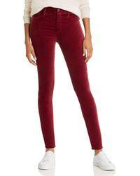 AG Jeans Farrah Skinny Velvet Jeans - Red
