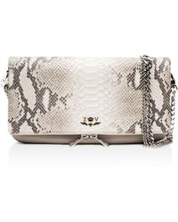 Zadig & Voltaire - Rock Python Embossed Leather Crossbody Clutch - Lyst