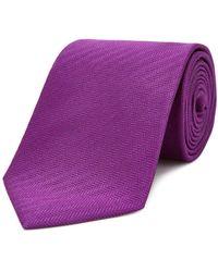 Turnbull & Asser Solid Herringbone Classic Tie - Purple