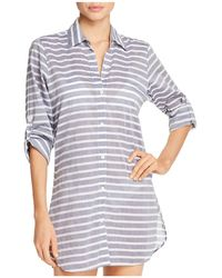 Tommy Bahama - Breton Stripe Boyfriend Shirt Swim Cover-up - Lyst