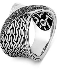 John Hardy Sterling Silver Classic Chain Black Sapphire & Black Spinel Hammered Twist Ring