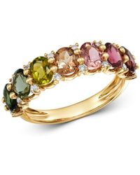 Bloomingdale's - Multicolor Tourmaline & Diamond Ring In 14k Yellow Gold - Lyst