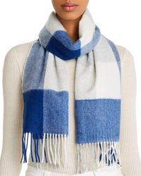 C By Bloomingdale's Cashmere Plaid Scarf - Blue