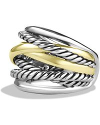 David Yurman Crossover Wide Ring With Gold - Metallic