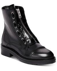 AllSaints Ariel Front Zip Leather Booties - Black