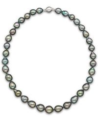 """Bloomingdale's - Natural Color Tahitian Pearl Strand Necklace In 14k White Gold, 18"""" - Lyst"""