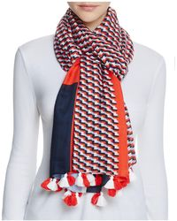 Tory Burch - Windsurf Color-block Logo Scarf - Lyst
