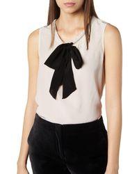 L.K.Bennett - Rachell Bow Front Silk Top - Lyst