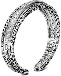 John Hardy - Sterling Silver Classic Chain Pavé Diamond Small Kick Cuff - Lyst