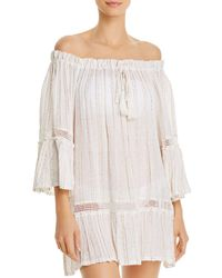 Surf Gypsy Sequin Striped Off - The - Shoulder Tunic Swim Cover - Up - White
