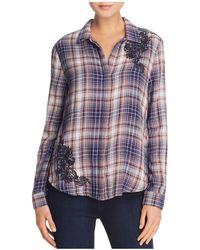 Aqua Embroidered Plaid Shirt - Blue