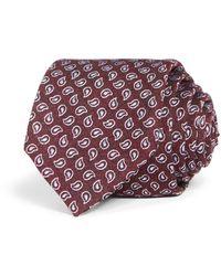 Bloomingdale's Pine Paisley Woven Silk Classic Tie - Purple