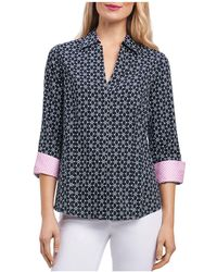 Foxcroft - Optic Floral-print Button-down Top - Lyst