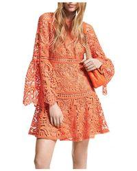MICHAEL Michael Kors Lace Bell Sleeve Mini Dress - Orange