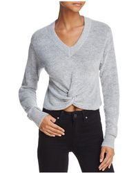 Olivaceous Twist-front Cropped Jumper - Grey