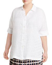 Marina Rinaldi Basilica Short - Sleeve Linen Shirt - White
