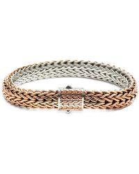 John Hardy - Sterling Silver Classic Chain Bronze Woven Flat Chain Reversible Bracelet - Lyst