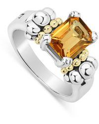 Lagos Sterling Silver & 18k Yellow Gold Glacier Citrine Ring - Metallic