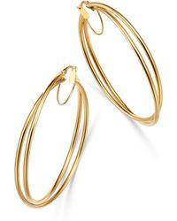 Bloomingdale's - Crossover Hoop Earrings In 14k Yellow Gold - Lyst