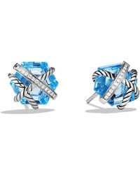 David Yurman - Cable Wrap Earrings With Blue Topaz And Diamonds - Lyst
