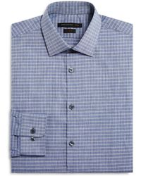 John Varvatos - Grid Check Slim Fit Dress Shirt - Lyst