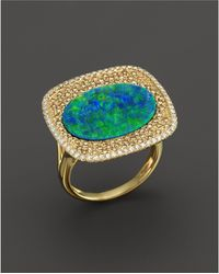 Meira T | 14k Yellow Gold Opal Square Ring With Diamonds | Lyst