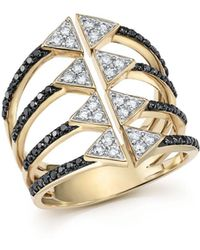 Bloomingdale's - Black And White Diamond Micro Pavé Statement Ring In 14k Yellow Gold - Lyst
