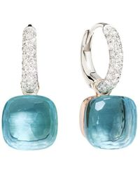Pomellato - Nudo Earrings With Blue Topaz And Diamonds In 18k White And Rose Gold - Lyst