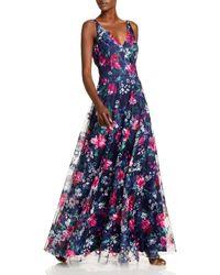Eliza J Flowing Floral V Neck A Line Gown - Blue