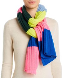 Aqua Cashmere Ribbed Colour - Block Cashmere Scarf - Multicolour