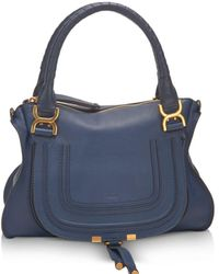 Chloé Marcie Medium Leather Satchel - Blue
