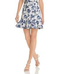 Aqua Floral - Jacquard Ruffle Mini Skirt - Blue