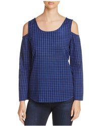 Side Stitch - Gingham Cold-shoulder Top - Lyst