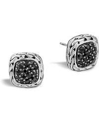 "John Hardy - ""kali Lava"" Small Square Stud Earrings With Black Sapphire - Lyst"