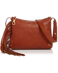 Halston Tina Fringe Leather Crossbody - Brown