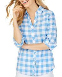 Foxcroft Dara Gingham High/low Shirt - Blue