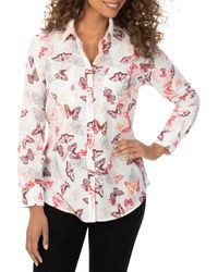 Foxcroft Zoey Butterfly Print Button Down Shirt - Multicolour